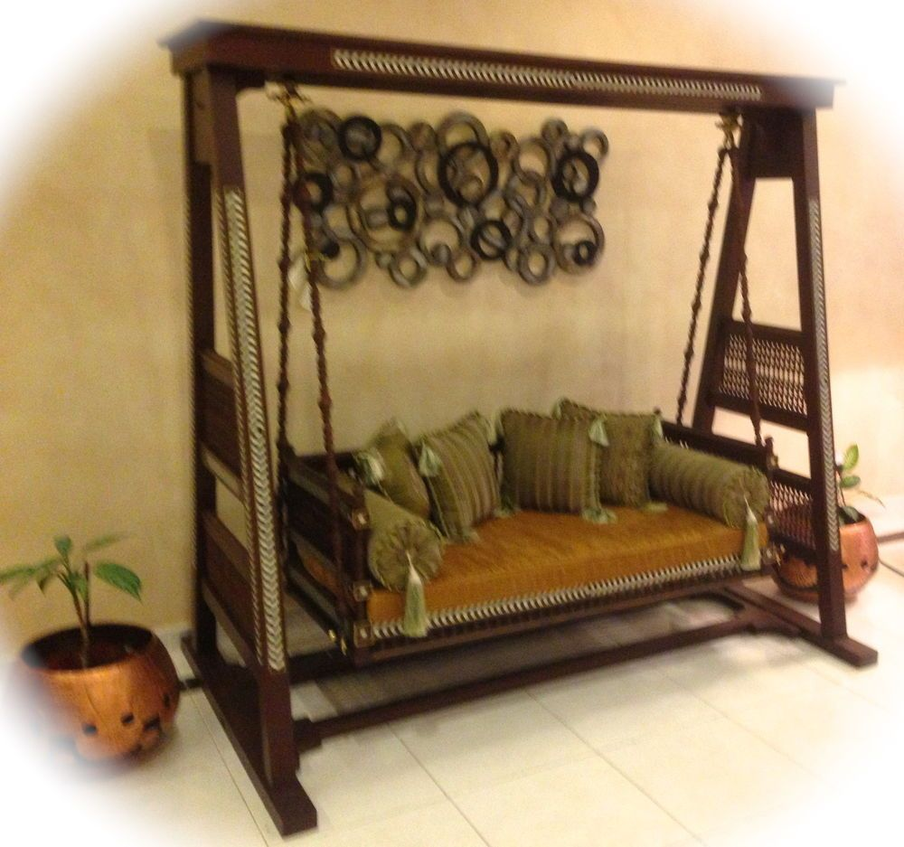 swing sofa jhoola wood carved moroccan inspired ~tejori