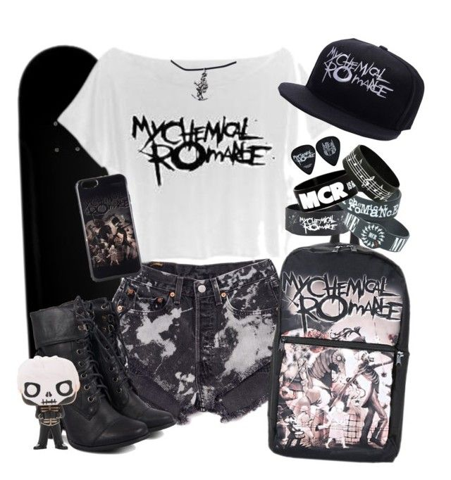 """My Chemical Romance"" by neverland-is-just-a-dream-away ❤ liked on Polyvore featuring Levi's and Funko"