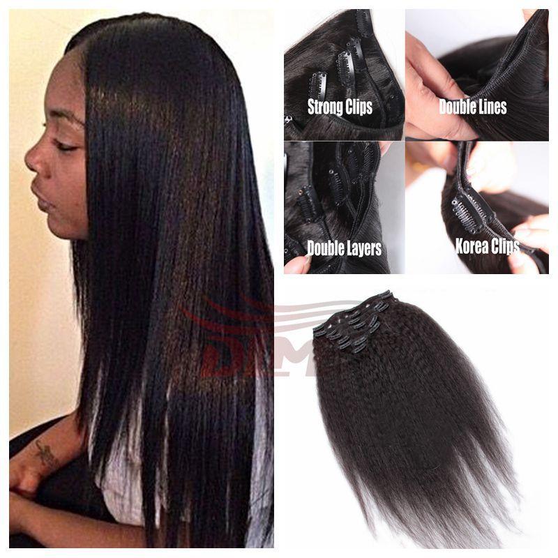 Clip In Human Hair Extension 6a Malaysian Virgin Hair Yaki Straight