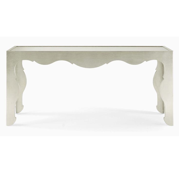Beau Salon Console Table, Antiqued Silver Leaf On Maple