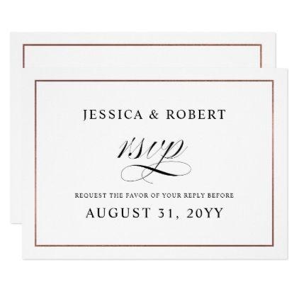 Elegant Script Faux Rose Gold Border Wedding Rsvp Invitation