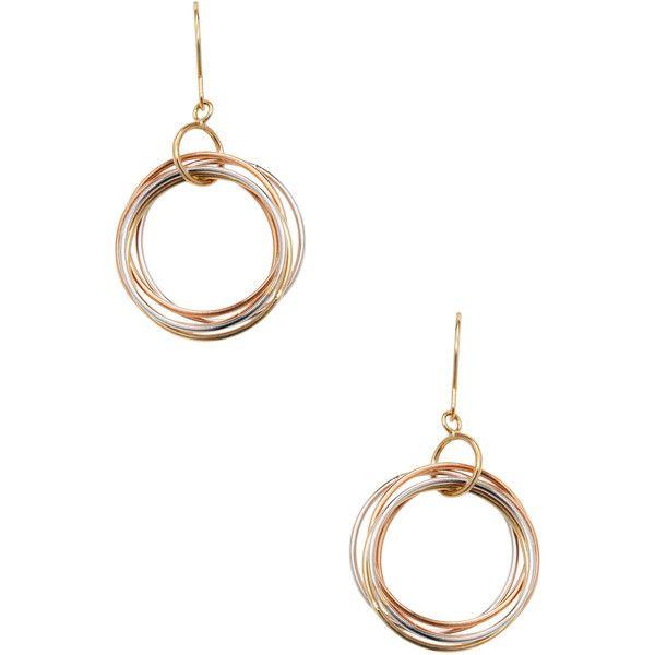 Tri-Tone Circle Dangle Earrings