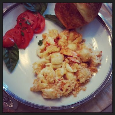 Lobster Shells and Cheese Served with a Popover from Gloucester, MA - Historic Popover recipe with Lob Mac and Cheese
