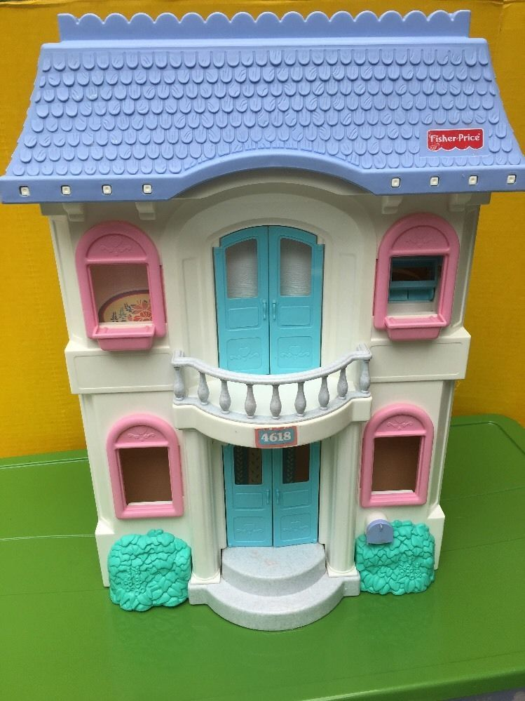 Fisher Price Loving Family Grand Vintage Doll House 4618 Blue White 1990 S Wow Ebay Fisher Price Doll House Vintage Fisher Price
