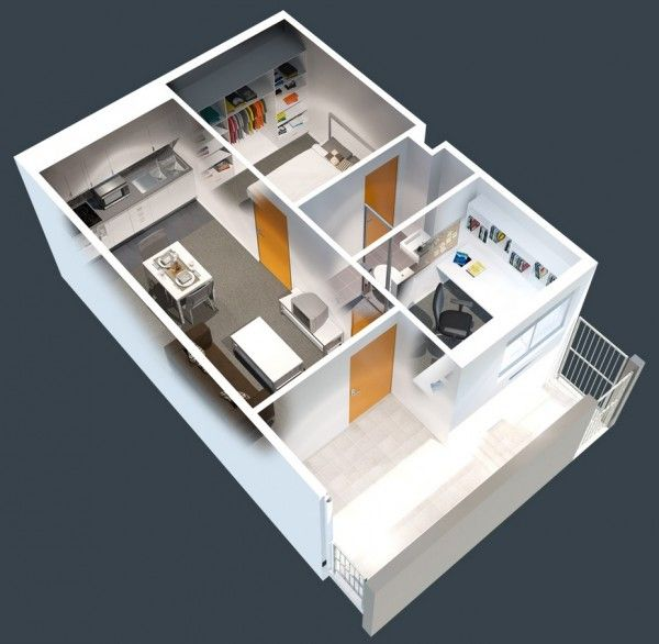 50 plans en 3d d appartement avec 1 chambres 3d plans for Plan 3d chambre