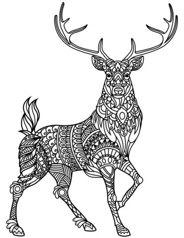 Deer Zentangle Coloring Page Free Deer Coloring Pages Animal Coloring Pages Deer Drawing