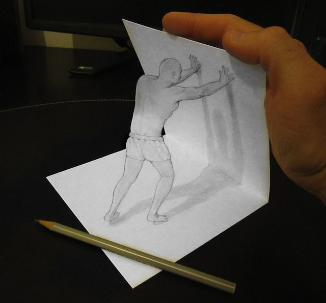 Italian artist alessandro diddi makes clever anamorphic pencil drawings that when viewed from a particular angle appear to pop out of the page in three d