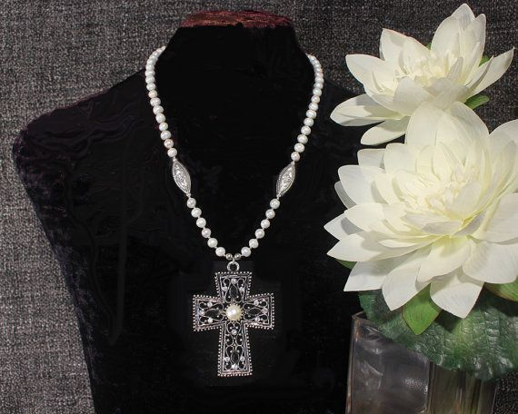 Cross Necklace, Pearl Necklace, Cross Pendant Necklace, Prayer Necklace, Pearl Statement Necklace, Ethnic Jewelry Ancient Jewelry, Christian