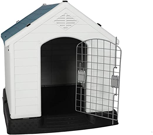 Amazon Com Luckyermore Dog Kennel Outdoor Waterproof Rainproof Pet House Crate With Door Indoor Plastic Puppy Cage Dog Kennel Outdoor Puppy Kennel Puppy Cage