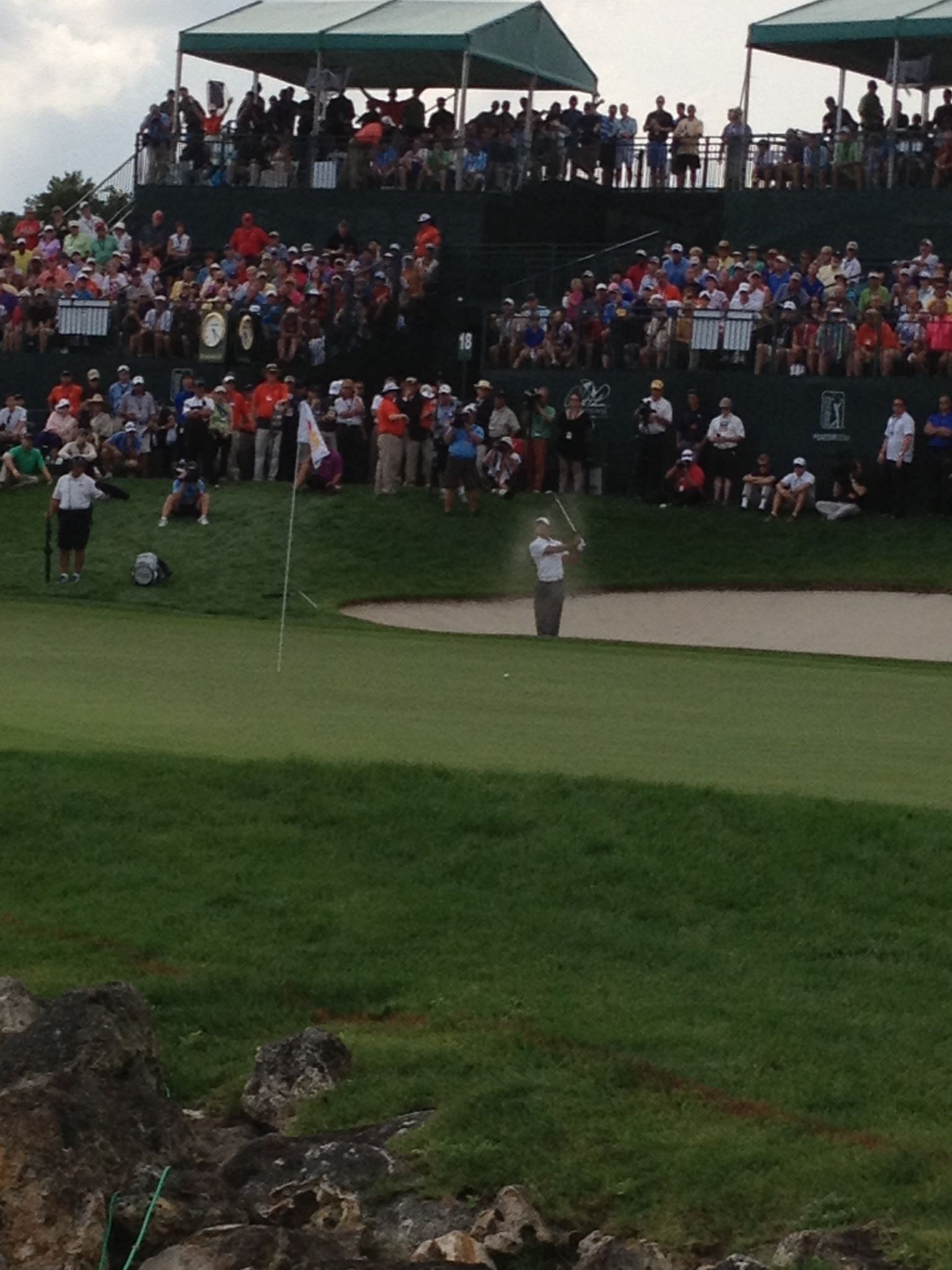 Tiger Woods out of the 18th bunker Arnold Palmer Invitational Bay Hill, Florida 2013