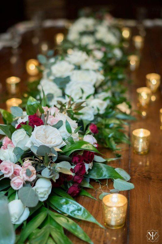 Greenery wedding centerpiece idea garland