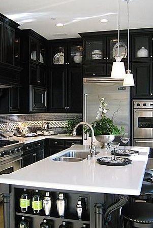 Dark kitchen is lovely