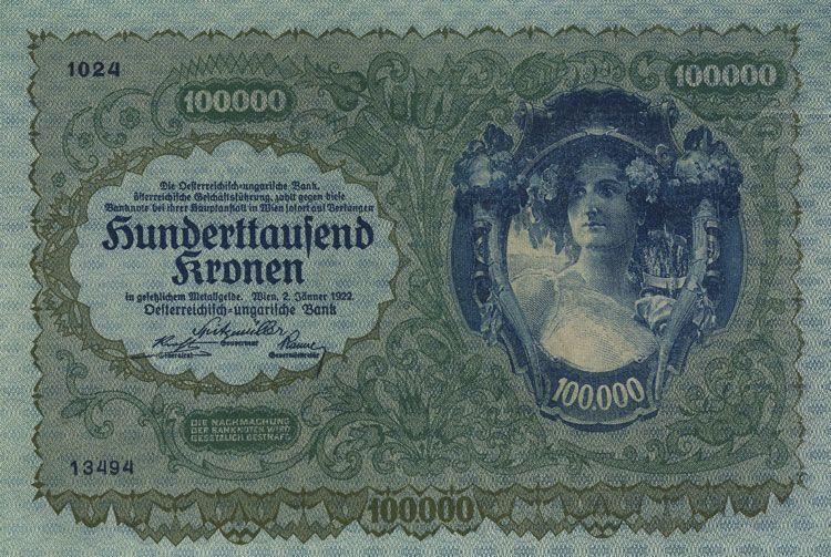 Banknoten Der Osterreichischen Inflation 1922 100 000 Kronen Vom 2 1 1922 Geld Geldscheine Papiergeld Banknoten Osterreich Kronen Geld Geldscheine Noten