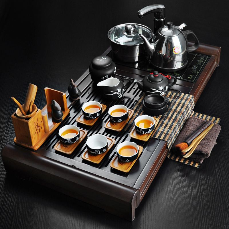 Black Poetry Porcelain Tea Set Four In One Pump Electromagnetic Oven Tray  Full Set Of Wood Group Kung Fu Tea Table