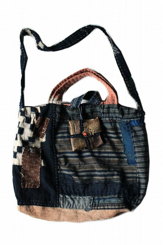 78e6d2c0f522 Japanese boro patchwork indigo check bag tote bag shoulder bag ...
