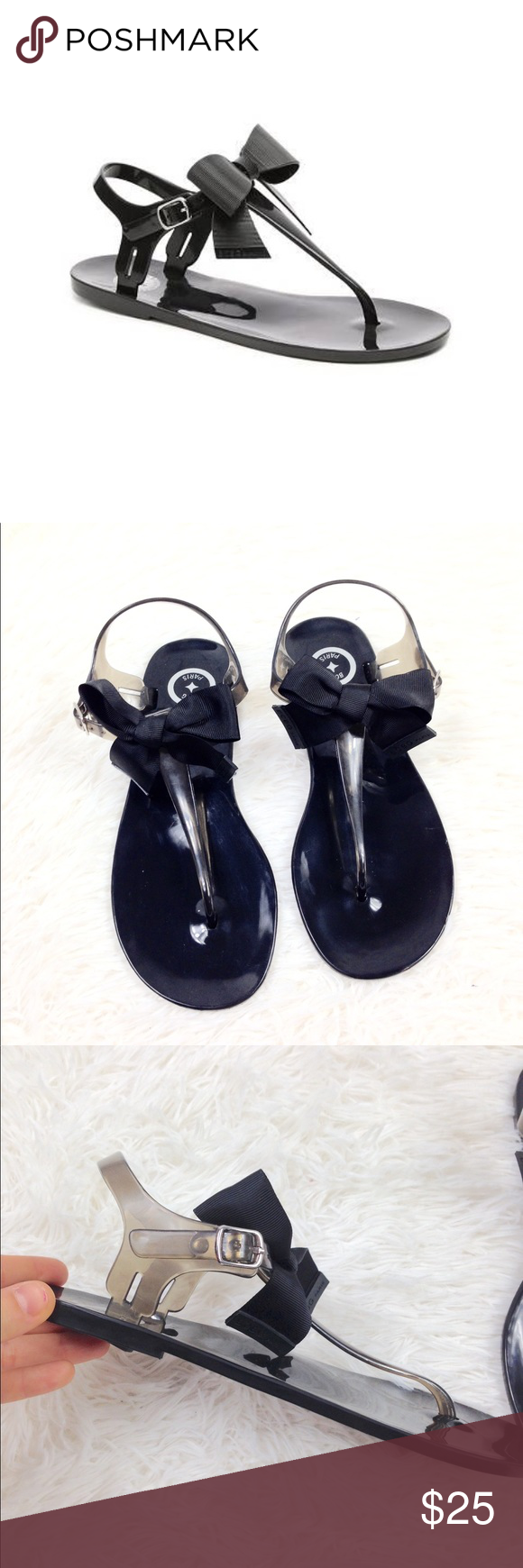 1ce7797dba49 BCBG Paris Beena Jelly Sandal BCBG Beena Jelly Sandal Black with black  ribbon bow on top of foot Size 8 In Great Condition! Perfect for summer