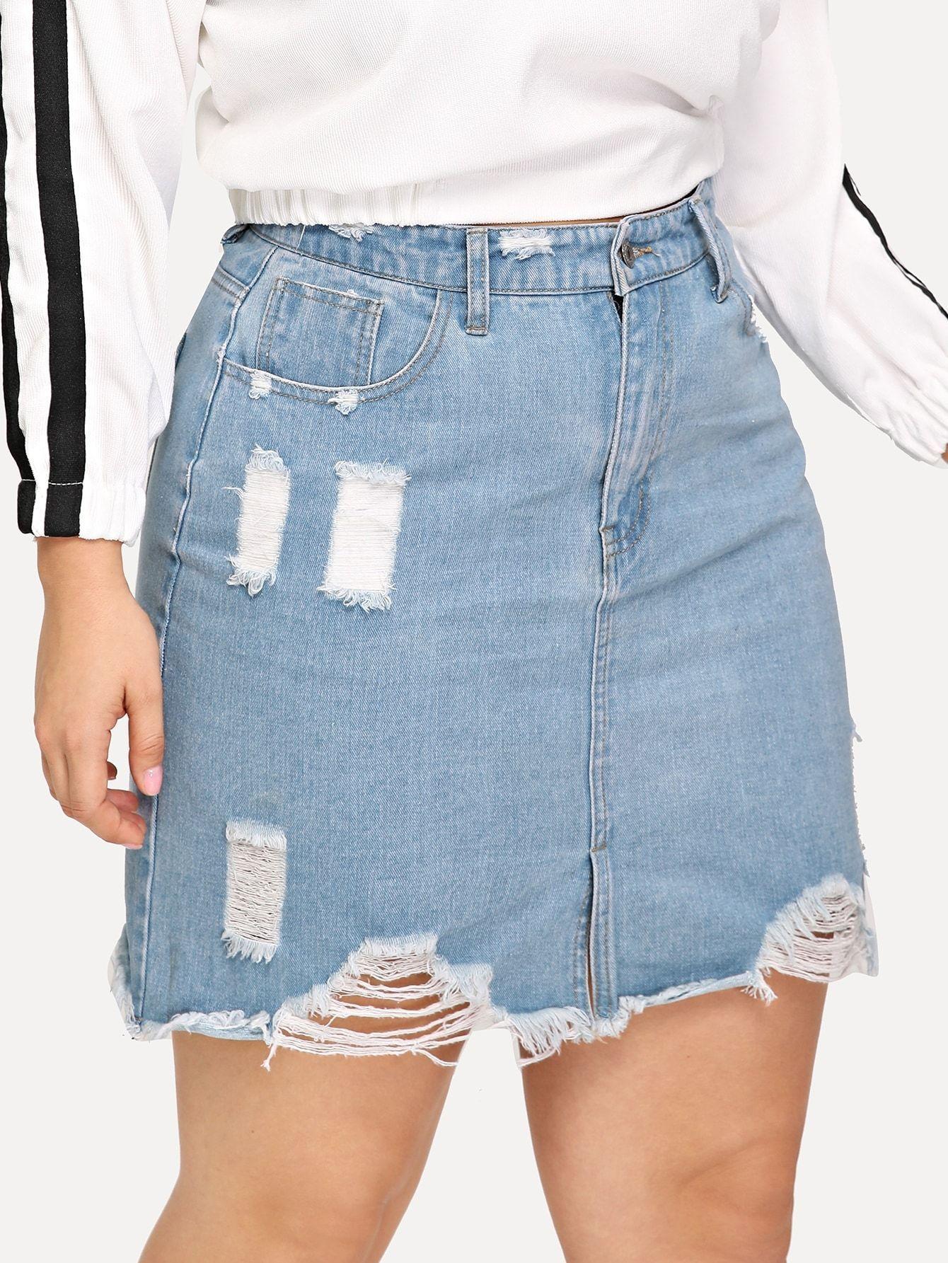 SHEIN Plus Ripped Raw Hem Denim Skirt