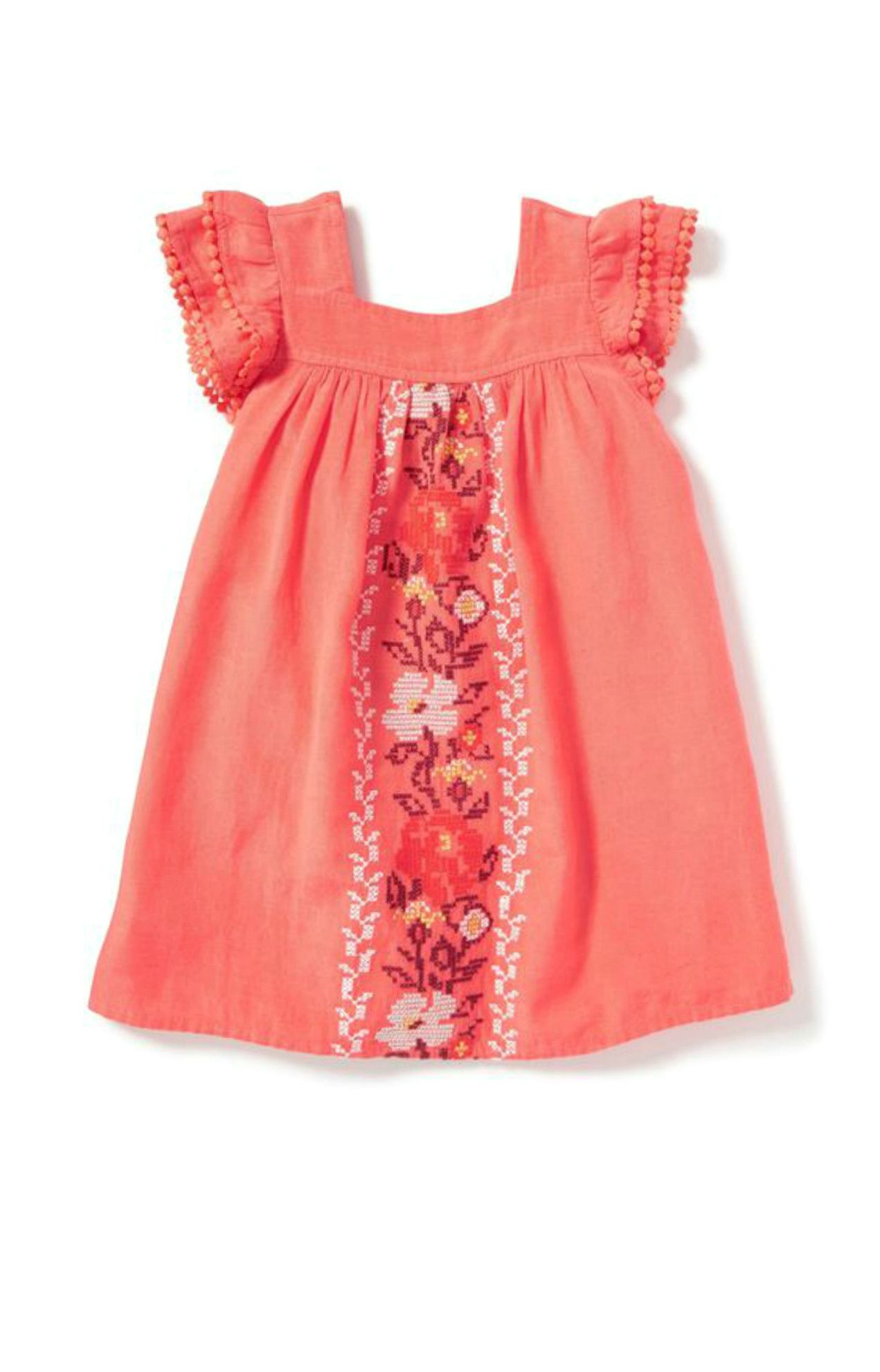 Embroidered Flutter Sleeve Dress Old Navy
