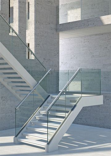 Beautiful Combination Of Concrete Aluminium And Glass Railing   Aluminium Railing For Stairs   Hand   House   Indoor   Staircase   3 Foot