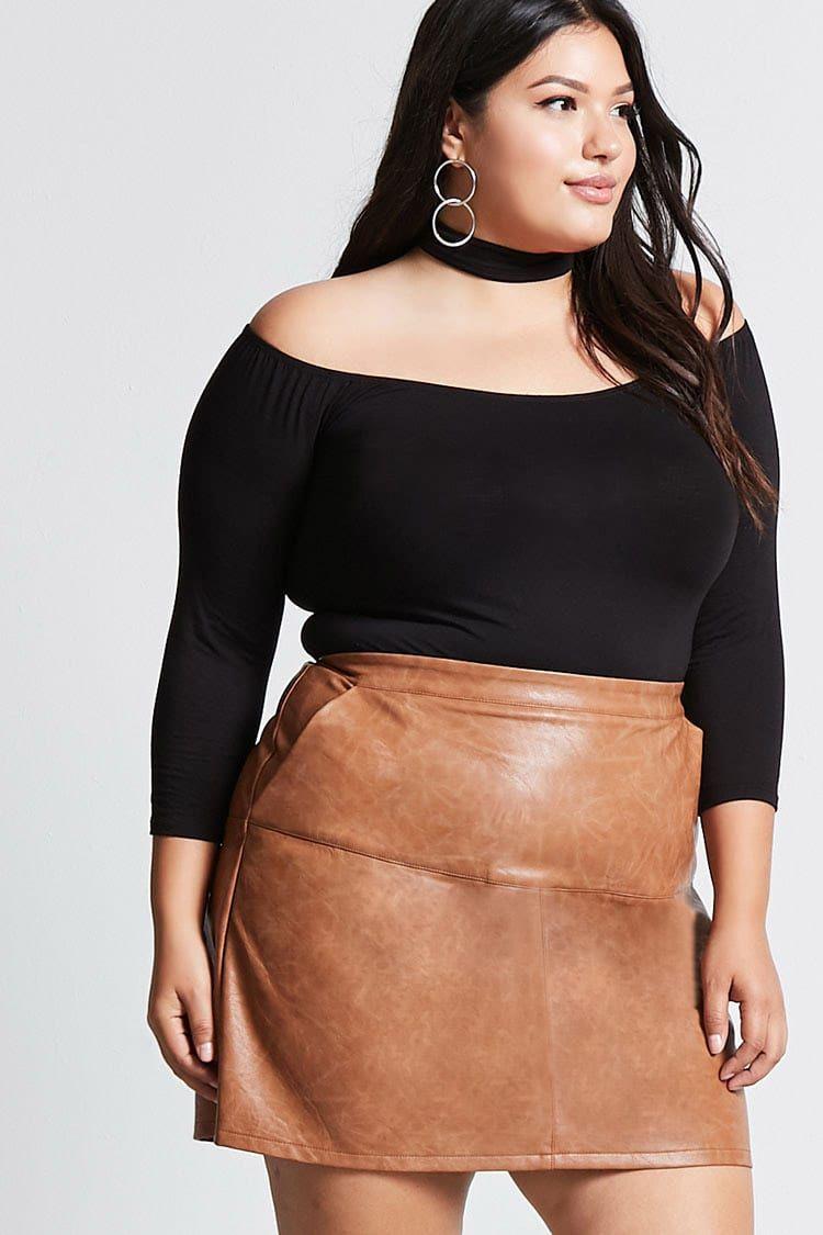 Plus Size Faux Leather Skirt | Huston Fislar Photography