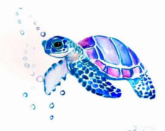 Sea Turtle Watercolor Sea Sea Turtle Tattoo Original