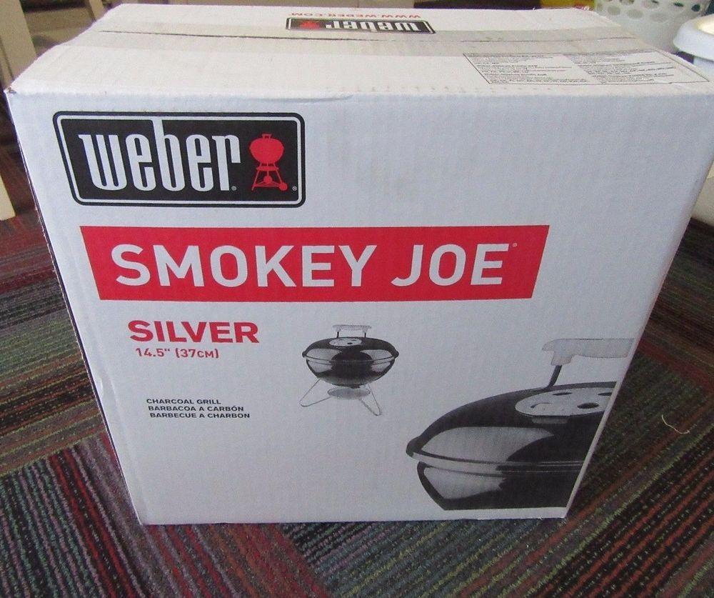 New Weber Smokey Joe Silver Portable Tailgate 14 5 Charcoal Grill 10020 Black Weber Charcoal Grill Smokey