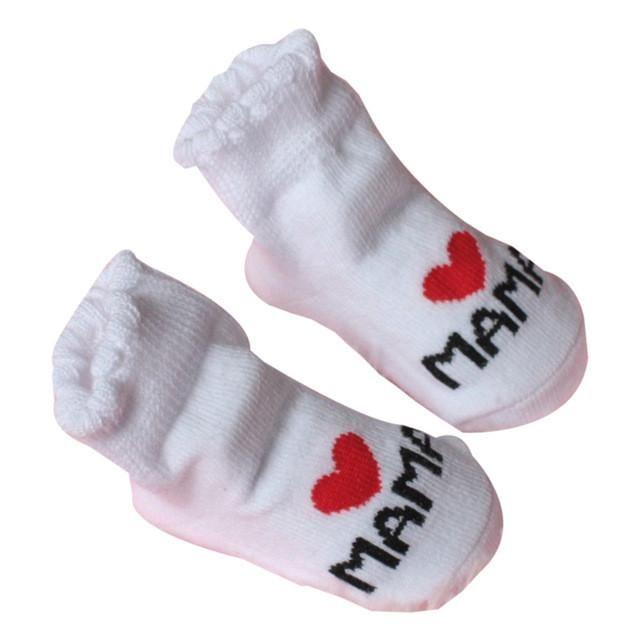 1 Pair Cotton Baby Socks Love Dad Letter Print Rubber Slip-Resistant Floor Socks