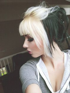 Black And Blonde Hair With Bangs Perfectly Done Love Split Dyed Hair Hair Styles Emo Hair