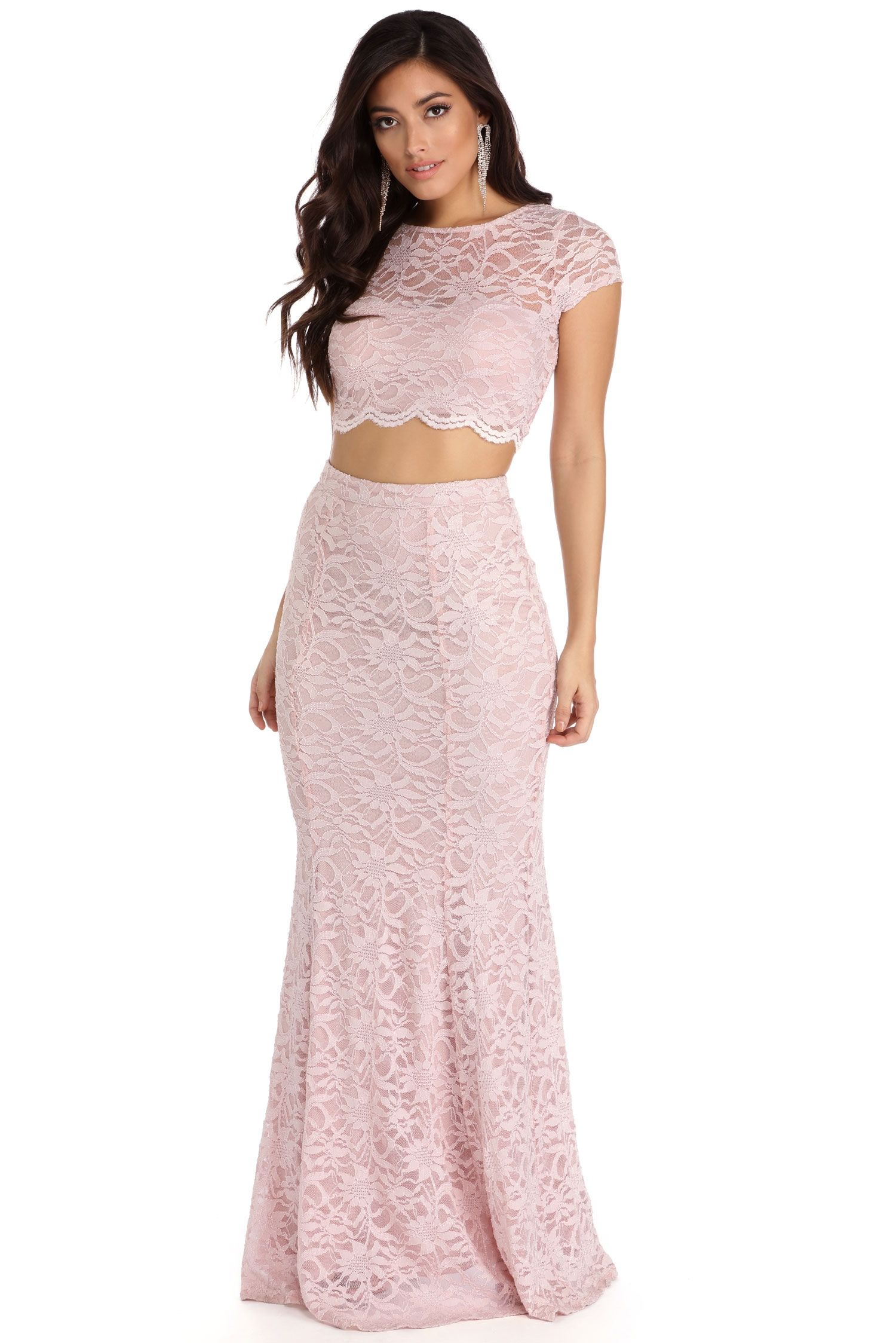 Adelynn Pink Scalloped Lace Two Piece Classy Party Outfit Lace Formal Dress Formal Dresses Long Plus Size [ 2247 x 1500 Pixel ]