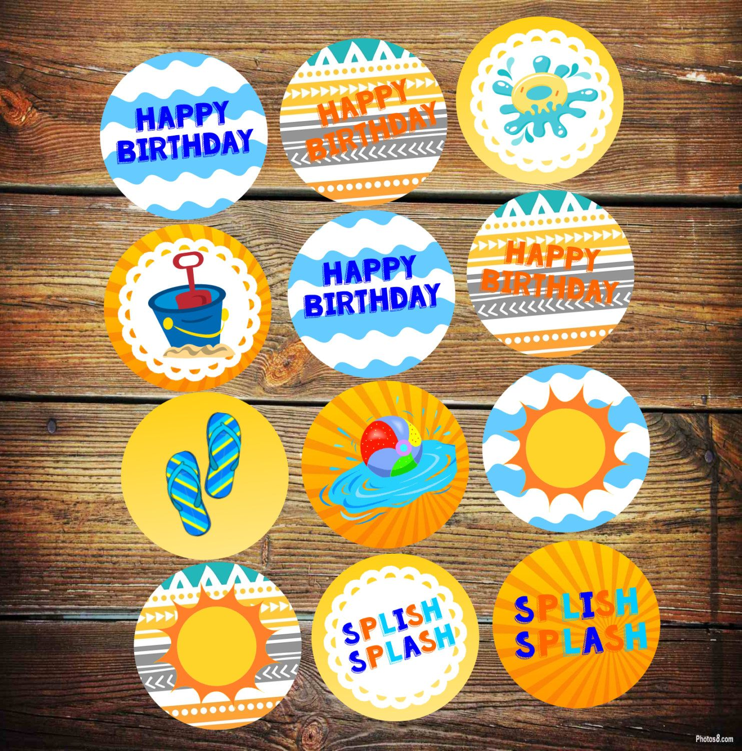 Pool Party Cupcake Toppers, Splash Party Decorations