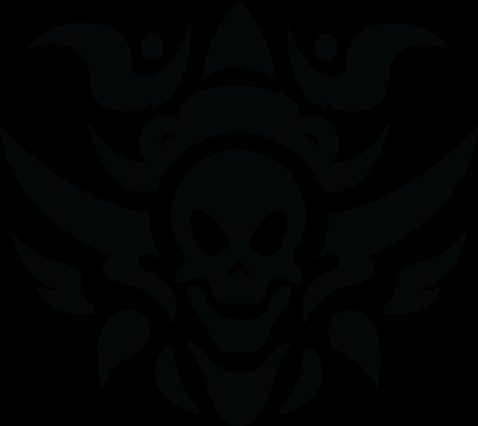 Flame Styled Outline Skull Picsart Png Black Skull Tattoo Tribal Skull