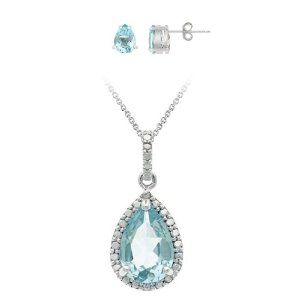#7: Sterling Silver Genuine Diamond and Blue Topaz Pendant and Earring Set.