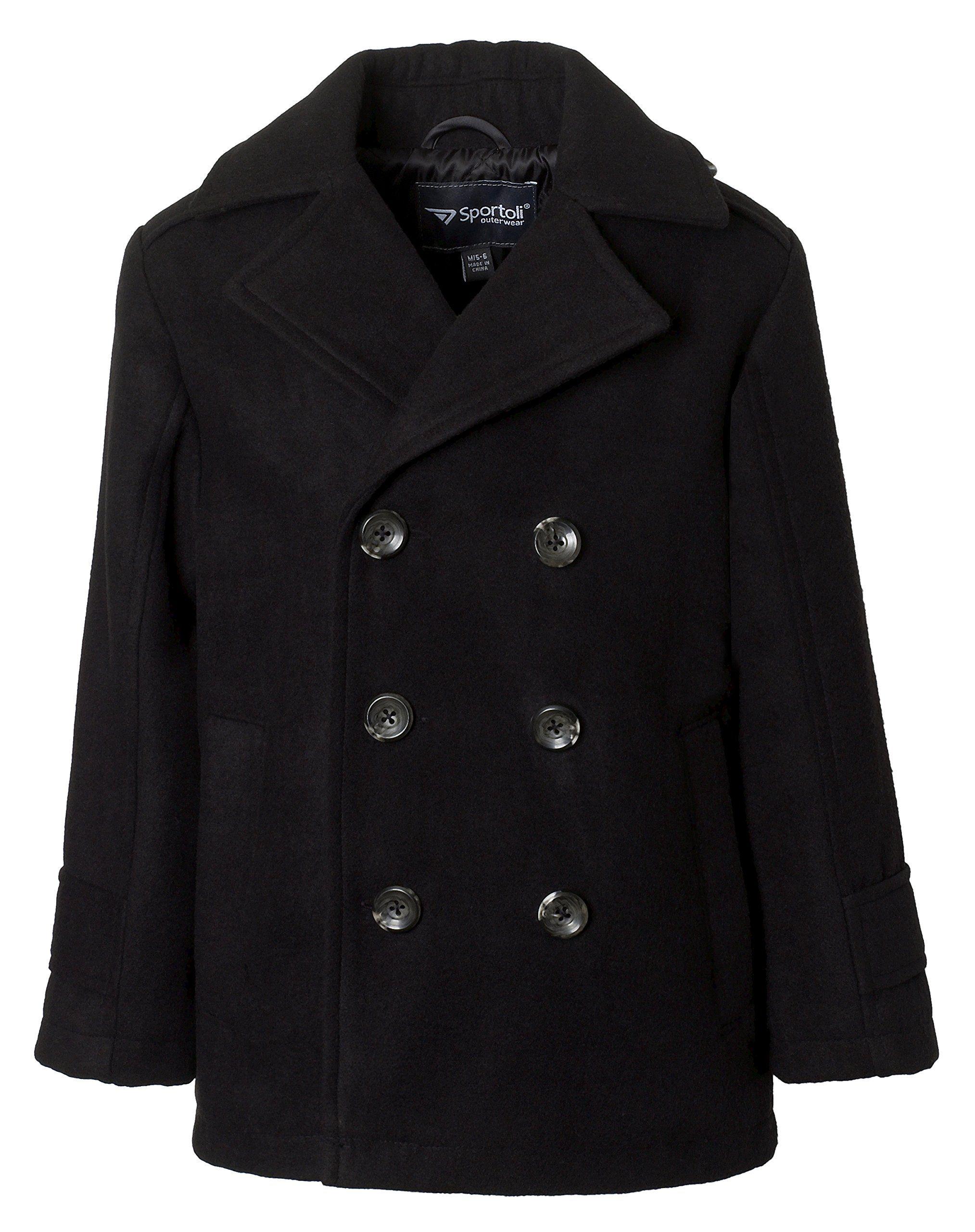 8aab2d46135b Sportoli Boys Classic Wool Look Quilt Lined Winter Dress Pea Coat ...