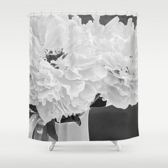 Black And White Shower Curtain Peony Shower Curtain Floral