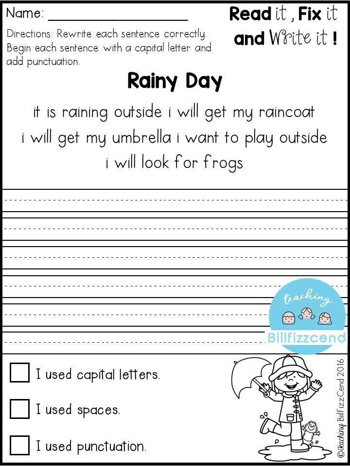 Fix It Up Sentences (March) | First grade writing ...
