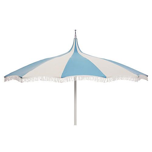 Ari Pagoda Fringe Patio Umbrella, Light Blue/White