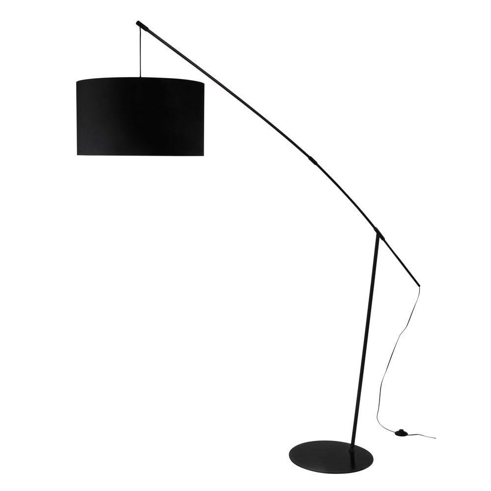 Lámpara de pie de metal y algodón negro Al. 201cm WIRE