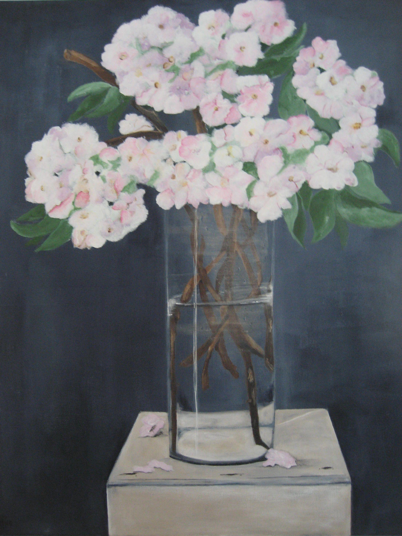 Al die prachtige bloessems buiten.Vandaar dit schilderij,,Blossom'' Acrylverf op doek 50x70