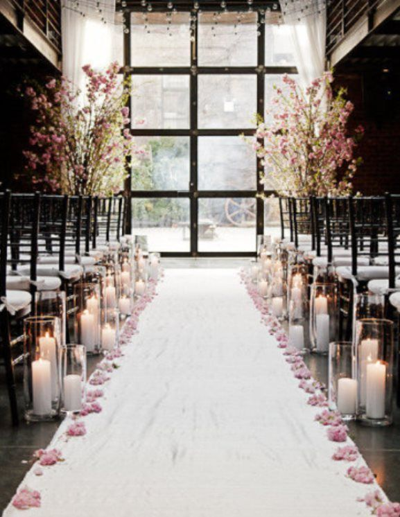 Tree branches for indoor decoration indoor ceremony decorations take a look at the best winter wedding aisle in the photos below and get ideas for your wedding winter wedding aisle runner decor with candles image source junglespirit Gallery