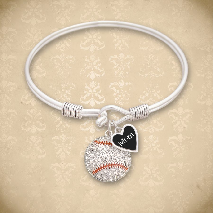 Custom Loved One Baseball Bangle, $9.98// you can personalize with any relationship, Mom, Dad, Aunt, etc. Wear this to games or tournaments to support your favorite player. Perfect for end of the year gifts or team fundraisers.