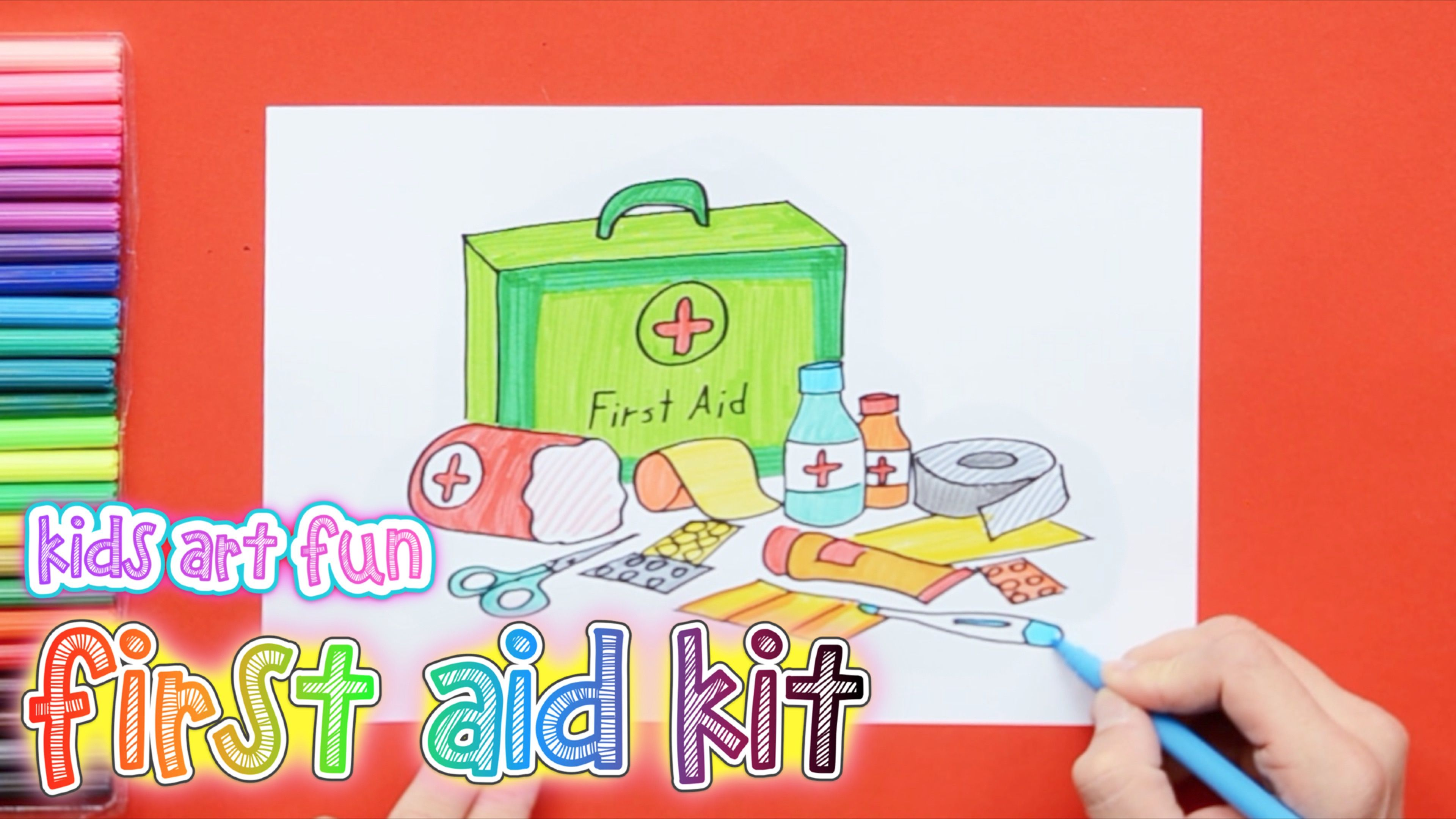How To Draw And Color A First Aid Kit First Aid Kit Box First Aid For Kids First Aid Kit