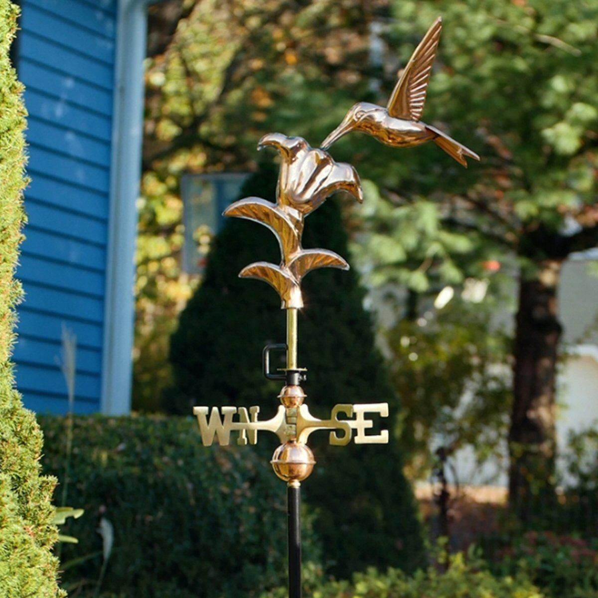 Hummingbird Cottage Weathervane Pure Copper Roof Mount Backyard Garden Décor