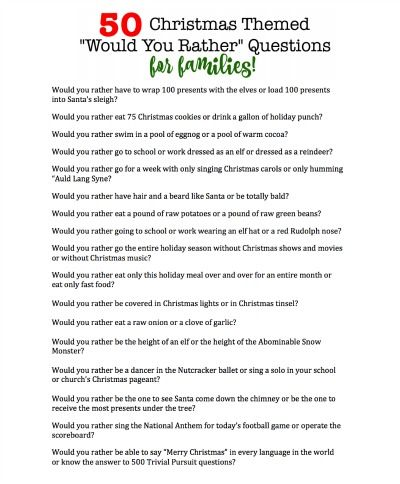 50 Christmas Themed Would You Rather Questions For Families Funny Christmas Party Invitations Christmas Party Themes Christmas Party Invitations