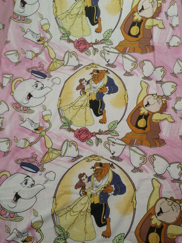 beauty and the beast vtg 1990s twin sheet set flat and fitted disney bedding evc
