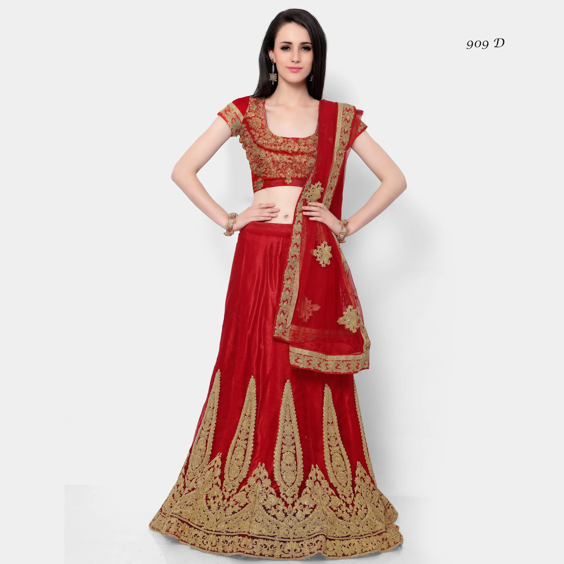 77153f8f26 Buy Apparels- Red Colour Net Designer Embroidery and Stone Work Lehenga  Choli