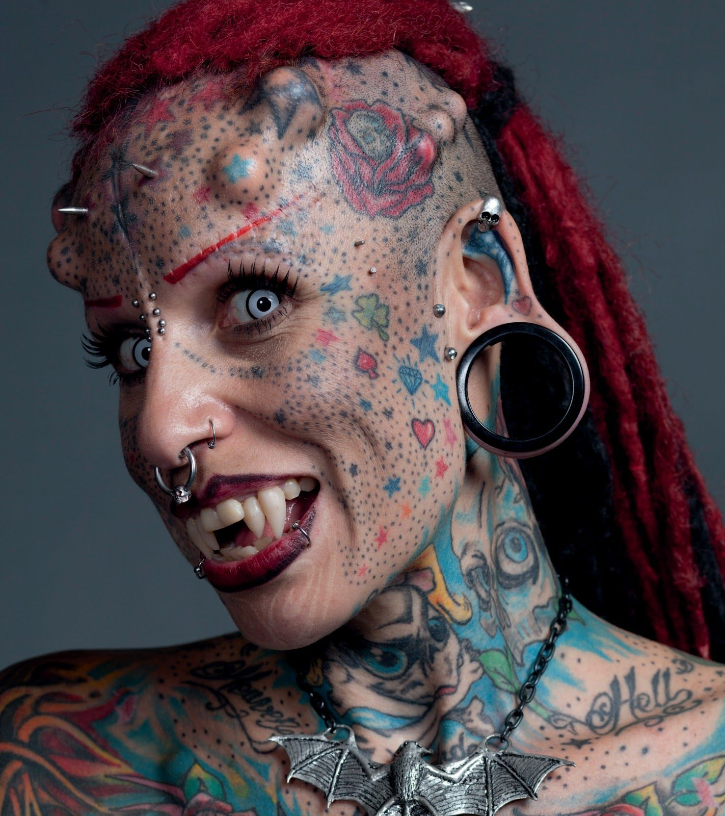 Maria Jose Cristerna Known As The Vampire Woman Because Of Her Extreme Body Modifications Including Hundreds Of Tattoos Skin Implants And Permanent