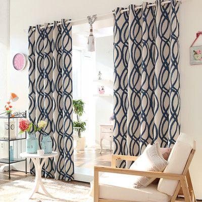 Wave Room Geometric Room Darkening Grommet Curtain Panels Panel Curtains Drapes Curtains Curtains