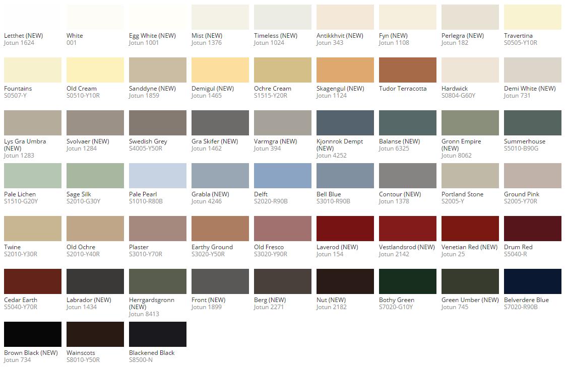 Jotun demidekk colour chart also tgb summerhouses in rh pinterest