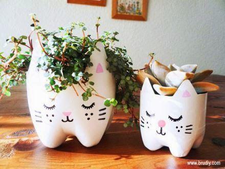 Hermosa maceta en forma de gatito manualidades para el - Manualidades para el hogar ...