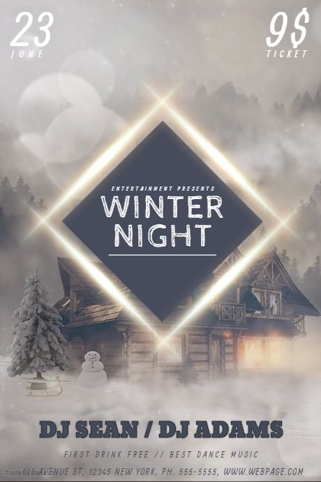 Winter Party Flyer Template PosterMyWall Free Winter Flyer